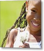 Little Girl Holding Weeds Metal Print