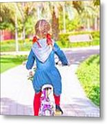 Little Girl On The Bicycle Metal Print