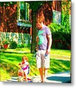 Little Girls First Bike Lesson With Dad Beautiful Tree Lined Street Summer Scene Carole Spandau  Metal Print