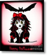 Little Goth Halloween Girl Metal Print