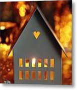 Little Gray House Lit With Candle For The Holidays Metal Print