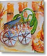 Little Harvest Wagon Metal Print
