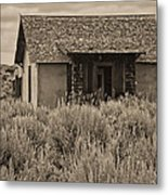 Little House In The Sage Bw Metal Print