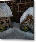 Little Houses Big Snow Metal Print