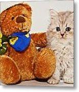 little Kitten with her Teddybear Metal Print