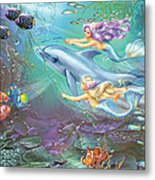 Little Mermaids And Dolphin Metal Print