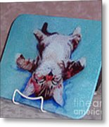 Little Napper Cutting And Serving Board Metal Print
