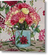 Little Old Vase And Carnations Metal Print