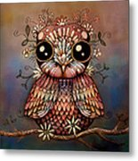 Little Rainbow Flower Owl Metal Print