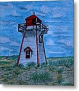 Little Red And White Lighthouse Metal Print