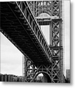 Little Red Lighthouse Beneath The George Washington Bridge Hudson River New York Nyc Metal Print