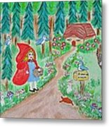 Little Red Riding Hood With Grandma's House On Mailbox Metal Print