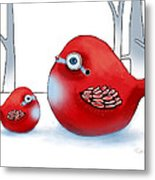 Little Red Robins Metal Print by Karin Taylor