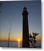 Little Sable Lighthouse At Sunset Metal Print