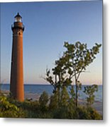 Little Sable Lighthouse By The Shore Metal Print