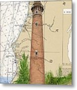 Little Sable Lighthouse Lake Mi Nautical Chart Map Art Cathy Peek Metal Print