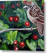 Little Sparrow In The Holly Metal Print