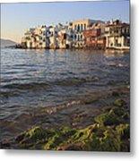 Little Venice At Sunset Mykonos Town Cyclades Greece  Metal Print