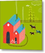 Little Village House Rural Landscape Metal Print