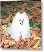 Little White Dog Watercolor Portrait Metal Print