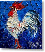 Little White Rooster Metal Print