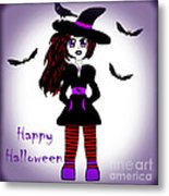 Little Witch Halloween Girl Metal Print