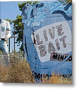 Live Bait Sign And Muffler Man Statue Metal Print