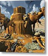 Living Fossils In A Desert Landscape Metal Print