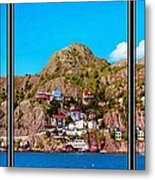 Living On The Edge Of The Battery Painterly Triptych Metal Print