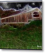Livingston Manor Covered Bridge - Featured In Comfortable Art Group Metal Print