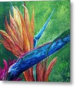 Lizard On Bird Of Paradise Metal Print