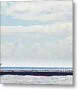 Loaded Oil Tanker On Ocean Under Stormy Sky Clouds Metal Print