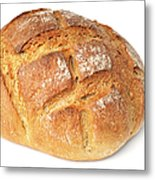 Loaf Of Bread On White Metal Print