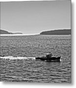 Lobster Boat And Islands Off Acadia National Park In Maine Metal Print