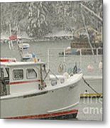 Snowy Lobster Boats Metal Print