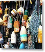 Lobster Buoys Fishermans Shed Metal Print