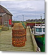 Lobster Fishing Baskets And Boats By A Dock In Forillon Np-qc Metal Print
