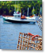 Lobster Trap In Maine Metal Print by Olivier Le Queinec