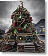 Lobster Trap Tree Metal Print by Eric Gendron