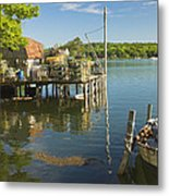 Lobster Traps On Pier In Round Pound On The Coast Of Maine Metal Print