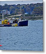 Lobstering Off Maine Coast Metal Print