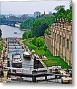 Locks On Rideau Canal East Of Parliament Building In Ottawa-on Metal Print