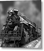 Locomotive 639 Type 2 8 2 Front And Side View Bw Metal Print