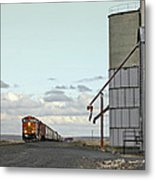 Locomotive And Silos Metal Print