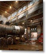 Locomotive - Locomotive Repair Shop Metal Print