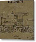 Locomotive Patent Postcard Metal Print