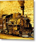 Sepia Locomotive Coal Burning Train Engine   Metal Print