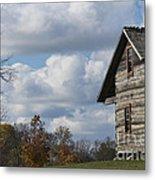 Log Cabin And November Sky Metal Print