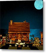 Log Cabin And Out House  Scene With Old Vintage Classic 1908 Model T Ford In Color Metal Print by Leslie Crotty