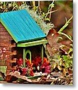 Log Cabin Birdhouse In Fall Metal Print